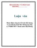 Luận văn: Hoàn thiện công tác kế toán tiền lương và các khoản trích theo lương tại công ty TNHH MTV Thoát nước Hải Phòng