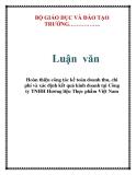 Báo cáo: Hoàn thiện công tác kế toán doanh thu, chi phí và xác định kết quả kinh doanh tại Công ty TNHH Hương liệu Thực phẩm Việt Nam