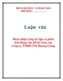 Luận văn: Hoàn thiện công tác lập và phân tích Bảng cân đối kế toán của Công ty TNHH TM Hương Giang