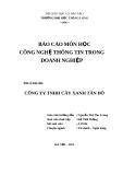 Đề tài: Thực trạng hoạt động sản xuất kinh doanh của công ty TNHH cây xanh Tân Đô