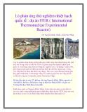 Lò phản ứng thử nghiệm nhiệt hạch quốc tế : dự án ITER