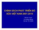 Chính sách phát triển bò sữa ở Việt Nam  năm 2001-2010