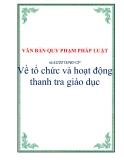 VĂN BẢN QUY PHẠM PHÁP LUẬTSố 42/2013/NĐ-CP Về tổ chức và hoạt động thanh tra giáo dục