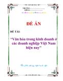 """ĐỀ TÀI:  """"Văn hóa trong kinh doanh ở  các doanh nghiệp Việt Nam hiện nay"""""""