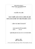 Luận văn thạc sĩ: Phát triển chăn nuôi gà đồi của hộ nông dân huyện Yên Thế, tỉnh Bắc Giang