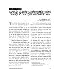 """Báo cáo """"    Tập quán và luật tục bảo vệ môi trường của một số dân tộc ít người ở Việt Nam """""""