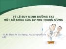TỶ LỆ SUY DINH DƯỠNG TẠI MỘT SỐ KHOA CỦA BV NHI TRUNG ƯƠNG