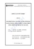 Luận văn:Giải pháp nâng cao chất lượng tín dụng tại NH Nông nghiệp & PTNT chi nhánh Tây SG