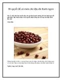 Bí quyết để có món chè đậu đỏ thơm ngon