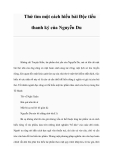 Một cách hiểu bài Độc tiểu thanh ký của Nguyễn Du
