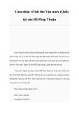 Cảm nhận về bài thơ Vận nước (Quốc tộ) của Đỗ Pháp Thuận