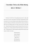 Cảm nhận về bài ca dao Khăn thương nhớ ai - Bài làm 1