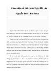 Cảm nhận về bài Cảnh Ngày Hè của Nguyễn Trãi - Bài làm 1