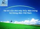 Đề tài: Vai trò của nhà máy thủy điện trong hệ thống điện Việt Nam