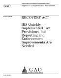 recovery act irs quickly implemented tax provisions but reporting
