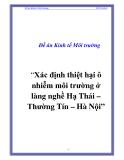 Đề tài án: Xác định thiệt hại ô nhiễm môi trường ở làng nghề Hạ Thái – Thường Tín – Hà Nội