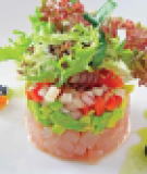 Cá ngừ rau củ kèm xốt Ponzu