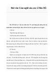 Bài văn Cảm nghĩ của em về Bác Hồ