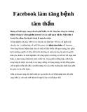 Facebook làm tăng bệnh tâm thần