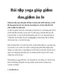 Bài tập yoga giúp giảm đau