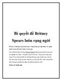 Bí quyết để Britney Spears luôn rạng ngời