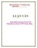 LUẬN VĂN: Hoàn thiện công tác kế toán Vốn bằng tiền tại công ty CPTM Ngọc Dung