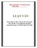 Luận văn kế toán mẫu :  Hoàn thiện tổ chức công tác kế toán doanh thu, chi phí, và xác định kết quả kinh doanh tại Công ty Cổ Phần Thép Việt Nhật