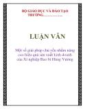 LUẬN VĂN: Một số giải pháp chủ yếu nhằm nâng cao hiệu quả sản xuất kinh doanh của Xí nghiệp Bao bì Hùng Vương
