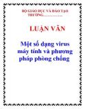 LUẬN VĂN: Một số dạng virus máy tính và phương pháp phòng chống