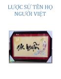 Lược sử tên họ người Việt - Nguyễn Vy-Khanh
