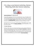 Các công cụ của Internet marketing, Internet Marketing, kiến thức Internet marketing