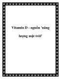 Vitamin D - nguồn 'năng lượng mặt trời'