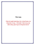 """Tiểu luận: Phân tích nghệ thuật động viên và thuyết phục của Hưng Đạo Vương – Trần Quốc Tuấn trong cuộc chiến chống quân Nguyên Mông lần thứ hai"""""""