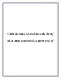 Cách sử dụng A lot of, lots of, plenty of, a large amount of, a great deal of