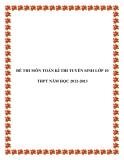 ĐỀ THI MÔN TOÁN KÌ THI TUYỂN SINH LỚP 10 THPT NĂM HỌC 2012-2013