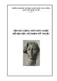 Giáo trình môn Điêu khắc - ĐH Sư phạm Mỹ thuật