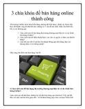 3 chìa khóa để bán hàng online thành công