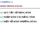 Bài giảng Excel căn bản - Chương 4 Hàm trong excel