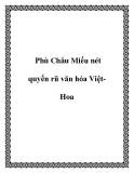 Phù Châu Miếu nét quyến rũ văn hóa Việt Hoa