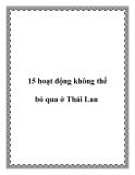 15 hoạt động không thể bỏ qua ở Thái Lan