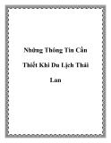 Những Thông Tin Cần Thiết Khi Du Lịch Thái Lan