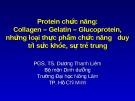 Protein chức năng:  Collagen – Gelatin – Glucoprotein, những loại thực phẩm chức năng  duy trì sức khỏe, sự trẻ trung  (TS. Dương Thanh Liêm)