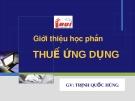 Thuế ứng dụng - GV Trịnh Quốc Hùng