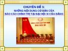 Những nội dung cơ bản của báo cáo chính trị tại đại hội XI cuả Đảng