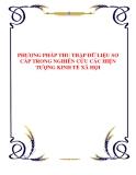 PHƢƠNG PHÁP THU THẬP DỮ LIỆU SƠ CẤP TRONG NGHIÊN CỨU CÁC HIỆN TƢỢNG KINH TẾ XÃ HỘI