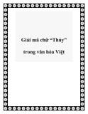 """Giải mã chữ """"Thủy"""" trong văn hóa Việt"""