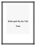 Khái quát Họ tên Việt Nam