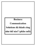 Business Communication Solutions đã thành công như thế nào? (phần cuối)