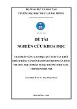 Đề tài nghiên cứu khoa học: Giải pháp nâng cao hiệu quả cho vay khối khách hàng cá nhân tại sở giao dịch ngân hàng thương mại cổ phần ngoại thương Việt Nam chi nhánh Hà Nội
