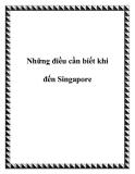 Những điều cần biết khi đến Singapore